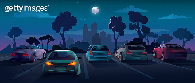 Cars at parking lot in night city street, vector background flat cartoon illustration. Outdoor parking lot and cars with taillight on, automobiles backs on parking, city night with moon and trees