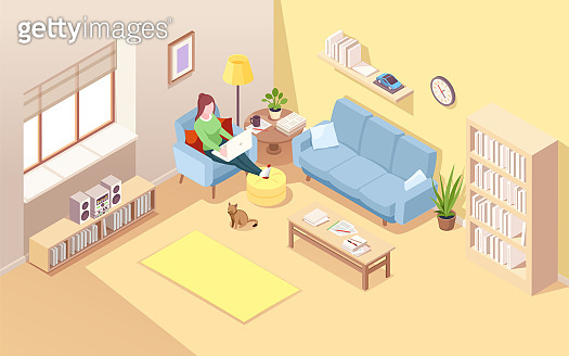 Woman sitting in chair with notebook doing freelance job or remote work. Girl working at home with legs put on ottoman. Female using laptop for overwork at her house. Living room interior.Internet job