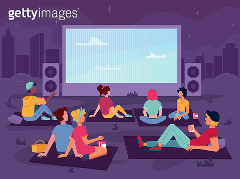 Cinema open air movie in park, night outdoor, vector people watch screen, flat cartoon background. Open air cinema, couples or girls and men guys sitting with popcorn and drinks watching movie