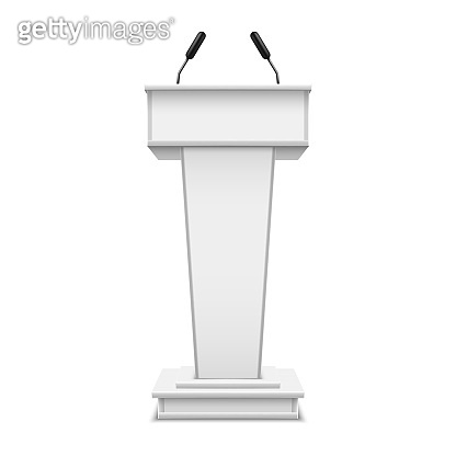 White realistic podium with microphone or pulpit with mic, debate tribune or speech rostrum. Platform for conference speaker or press, lecture or seminar, presentation, communication. Grandstand