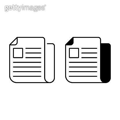 Newspaper outline and glyph icons