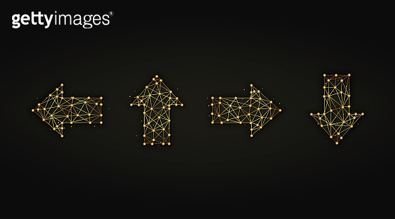 Set of arrows golden abstract illustration on dark background. Arrow symbols made from lines and dots.