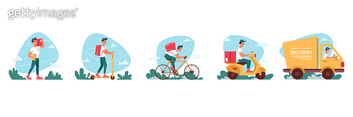 Delivery courier service, express delivering icons vector flat cartoon. Delivery couriers on bicycle or moped scooter, logistics truck and courier man or boy delivering red parcel box with orders