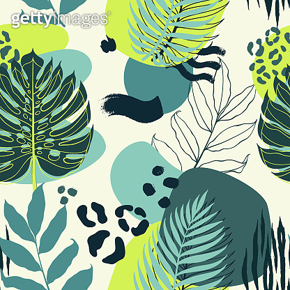 Abstract seamless background of tropical plant palm leaf, geometric figures and animal pattern. Vector illustartion.