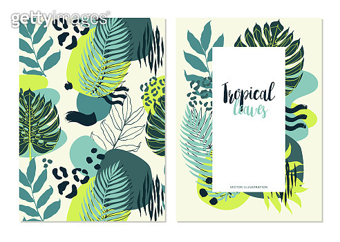 Banners with abstract compositions of tropical plant palm leaf, geometric figures and animal pattern.  Vector illustartion.