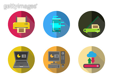 Icon set electronic office machine equipment for remote working,laptop,desktop PC, scanner,printer,External harddisk with cloud,copy machine