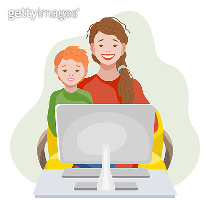 Online Education and learning for kids concept. Mom and son with computer