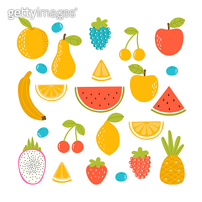 Set of organic tropical fruit. Fresh vegan kitchen. Hand drawn apple, lemon, orange, strawberry, pineapple, watermelon, dragon fruit, cherry and banana
