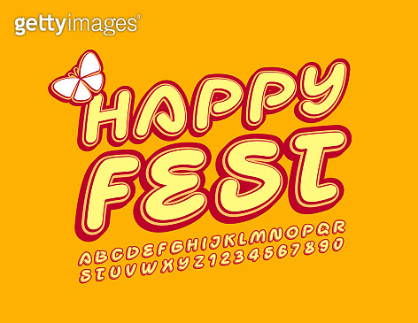 Vector bright poster Happy Fest with decorative Butterfly. Trendy Alphabet Letters and Numbers