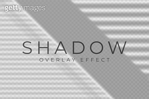 Shadow overlay effect. Transparent soft light and shadows from windows and jalousie. Mockup of transparent shadow overlay effect and natural lightning