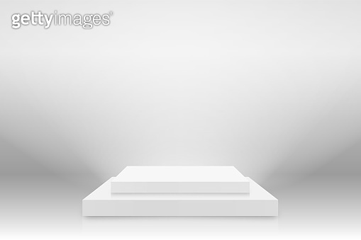 White 3d podium mockup in square shape. Empty stage or pedestal mockup illuminated with spotlight. Podium or platform for award ceremony and product presentation