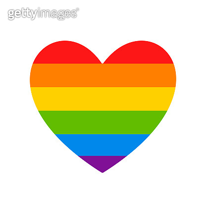 LGBT flag. LGBT pride flag of gay and lesbian, besexual and transgender. Human rights, sex orientation and tolerance concept. Heart symbol in rainbow colors