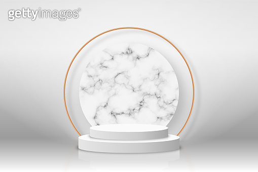 White 3d podium with marble texture and golden elements. Empty stage or pedestal mockup illuminated with spotlight. Podium or platform for award ceremony and product presentation