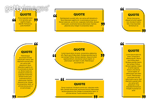 Quote text box, quote frame with space for text. Set of quotation bubbles. Abstract texting box templates, message border and quote frames with yellow background