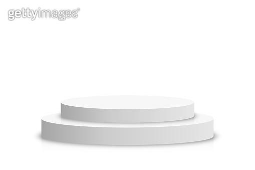 White 3d podium mockup in circle shape. Empty stage or pedestal mockup isolated on white background. Podium or platform for award ceremony and product presentation