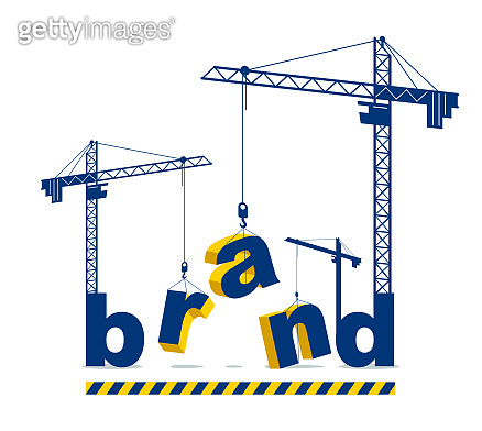 Construction cranes build Brand word vector concept design, conceptual illustration with lettering allegory in progress development, stylish metaphor of business identity and marketing.