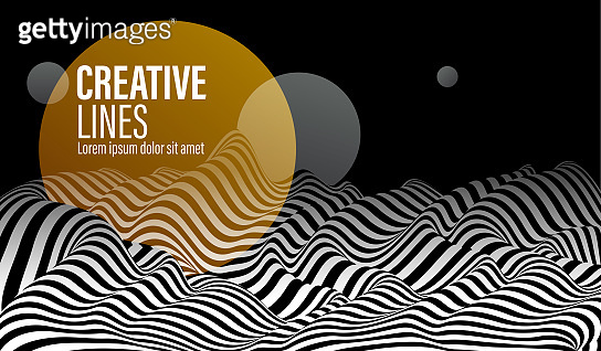3D black and white lines in perspective with yellow circle splat abstract vector background, linear perspective terrain pattern op art.