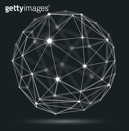 Abstract 3D mesh sphere vector illustration, dots connected with lines technology polygonal object, dynamic tech and science lattice, with realistic depth of field effect.