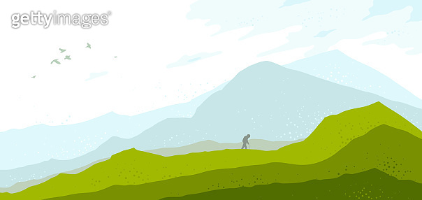 Beautiful scenic nature landscape with traveler pilgrim vector illustration summer or spring season with grasslands meadows hills and mountains, hiking traveling trip to the countryside concept.