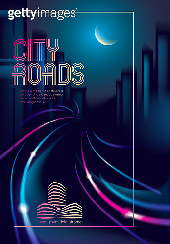 Light trail vehicles at highway in big city in the nighttime. Effect vector beautiful background. Blur colorful dark background with cityscape, buildings silhouettes skyline. Brochure, flyer, cover, poster or guidebook template.