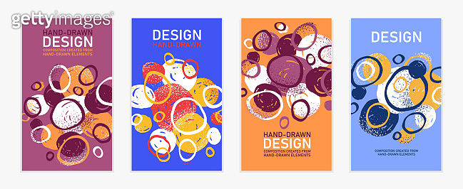 Hand drawn art vector covers circles abstract backgrounds set, artistic graphic design brochures flyers or booklets, advertising colorful positive posters, textured abstraction funny and cute.