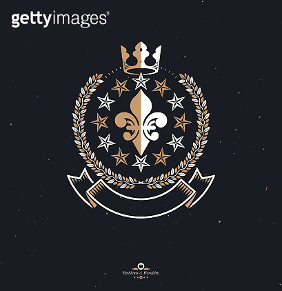 Pentagonal Stars emblem, union theme symbol created with royal crown and laurel wreath. Heraldic Coat of Arms, vintage vector logo.