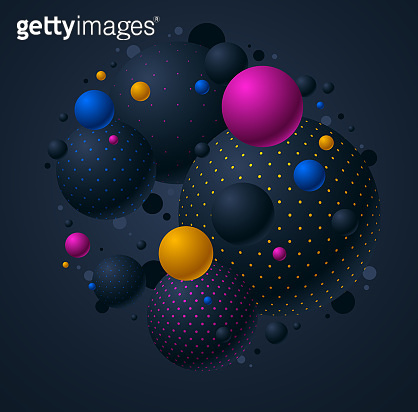 Abstract black and color dotted spheres vector background, composition of flying balls decorated with dots, 3D mixed globes