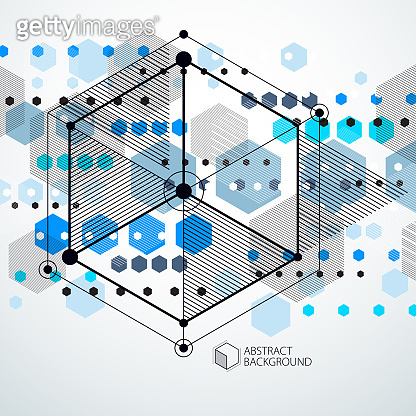 Vector industrial and engineering blue background, future technical plan. Modern geometric composition can be used as template and layout.