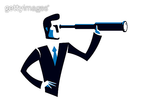 Businessman looking for opportunities in spyglass business concept vector illustration, young handsome business man searches new perspectives.