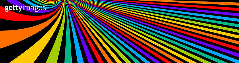 Psychedelic rainbow colored optical illusion lines vector insane art background, LSD hallucination delirium, surreal op art linear curves in hyper 3D perspective, hypnotic design.