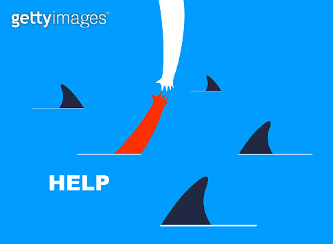 Help and empathy concept two hands helping one another to get out from sea full of sharks vector simple minimal illustration, care give aid, friendship understanding, support.
