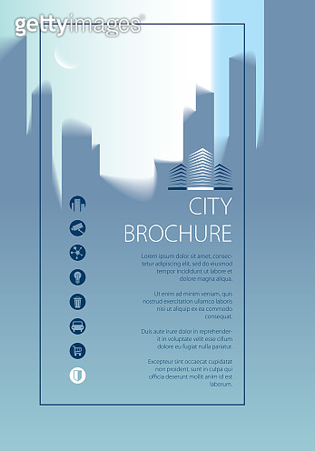 Simple city traveling tourist guide book. Brochure, flyer, cover, poster or guidebook template. Vector modern illustration.