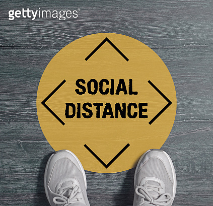 Maintain Social Distancing and Keep Your Distance 6 ft Please wait here for customer at shop, restaurant, building, hotel, shopping mall, store. Concept Keep distance in public to protect COVID-19, Covid-19 Social distancing guildeline position