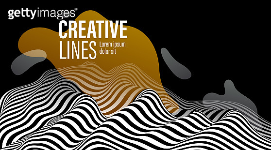 3D black and white lines in perspective with yellow fluid liquid paint splat abstract vector background, linear perspective terrain pattern op art.