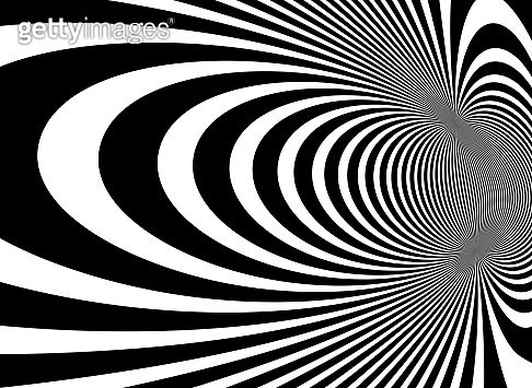 Op art distorted perspective black and white lines in 3D motion abstract vector background, optical illusion insane linear pattern, artistic psychedelic illustration.