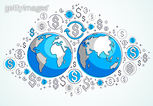Global business concept, planet earth with dollar icons set, international economy, currency exchange, internet global network connection, vector, elements can be used separately.