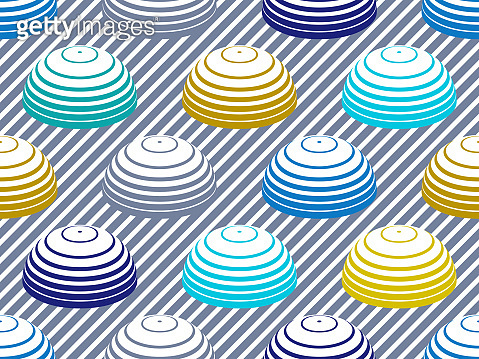 Hemispheres lined optical illusion seamless pattern, vector repeat tiling op art background, psychedelic 3D spheres and lines, wallpaper or print textile template.