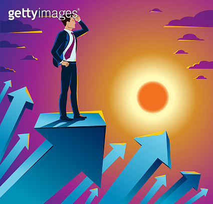 Businessman looking for opportunities business concept vector illustration, young handsome business man searches new perspectives.