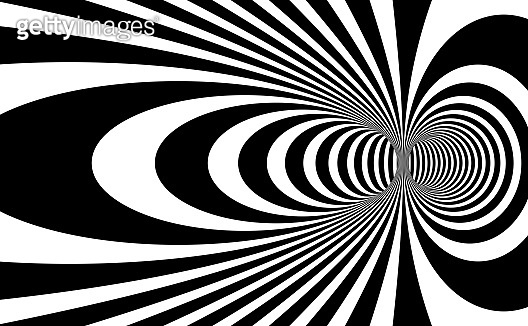 Abstract op art black and white lines in hyper 3D perspective vector abstract background, artistic illustration psychedelic linear pattern, hypnotic optical illusion.