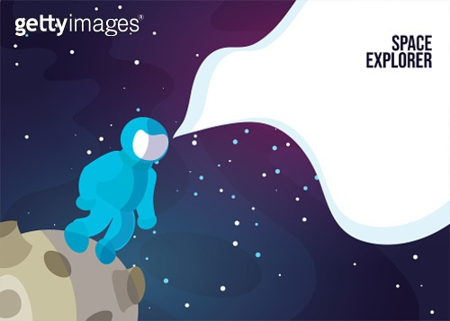 Astronaut Astronaut walking on the Moon or Asteroid. Space exlorer man in blue space suit in deep space, web banner. Vector Astronaut Standing on some Planet