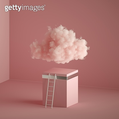 3d render of a fluffy cloud, ladder near the cubic pedestal, minimal room interior. Objects isolated on pastel pink background, fantasy fashion concept, modern minimal design, abstract metaphor.