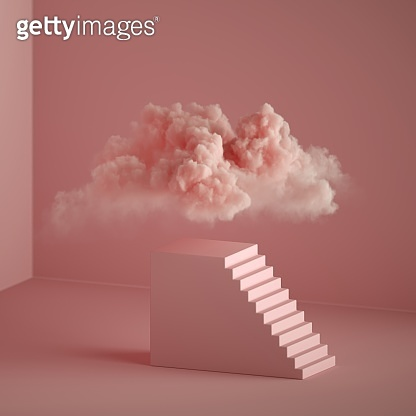 3d render, abstract pink fantasy background. Cloud floating above the pedestal with stairs, cubic podium. Objects isolated inside pink minimal room, modern fashion concept. Dream metaphor