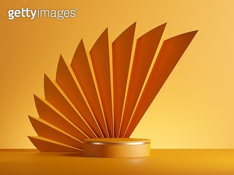 3d rendering, abstract yellow background with empty cylinder podium, pedestal stage, product display blank showcase template