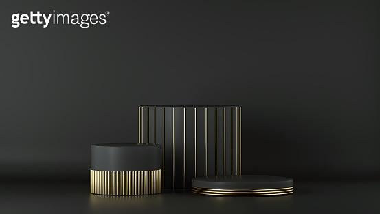 3d render, minimalist black gold background. Empty cylinder podium, vacant pedestal, round stage, showcase stand, product display, platform. Abstract architectural elements. Copy space. Premium design