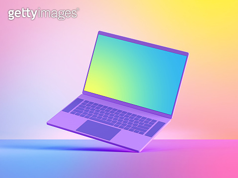 3d render laptop computer mockup with blank screen, electronic mobile device isolated on colorful pastel background, illuminated with soft neon light. Modern technology concept. Digital illustration