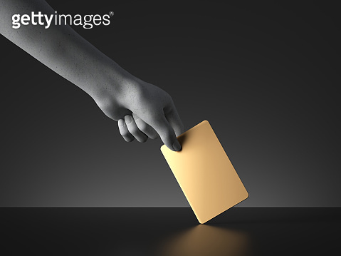 3d render, mannequin hand holding blank golden card or ticket isolated on black background. Payment or voting metaphor. Modern minimal mockup with copy space. Concrete sculpture. Artificial human limb