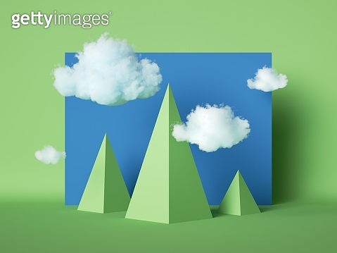 3d render abstract geometric landscape, simple cartoon green pyramidal mountains and white clouds in blue sky, paper craft scene