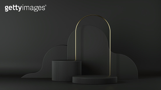 3d render, abstract minimalist black background. Empty cylinder podium, vacant pedestal, round stage, showcase stand, product display, blank board, expo platform. Copy space. Modern premium design