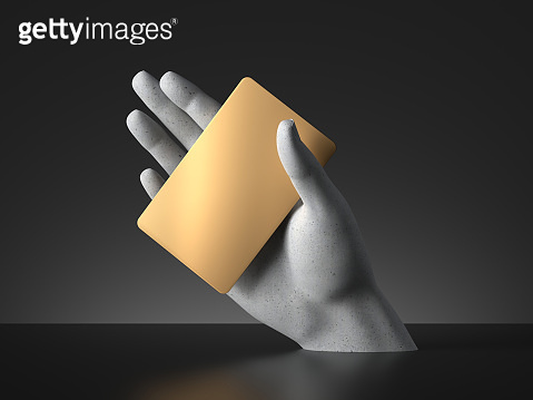 3d render, mannequin hand holding blank golden card or ticket isolated on black background. Payment metaphor. Modern minimal concept, simple clean design. Concrete sculpture. Artificial human limb