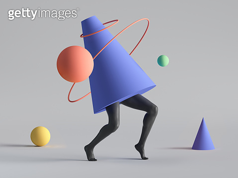 3d render, abstract minimal surreal contemporary art. Geometric concept, cone, black legs walk, red ring, yellow ball isolated on white background. Modern fashion composition, funny freak performance